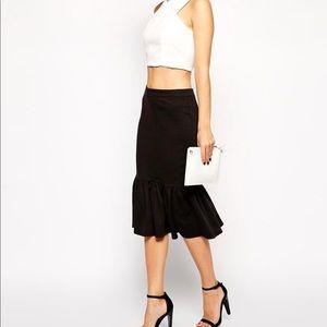 ASOS Pencil Skirt In Ponte With Peplum Hem